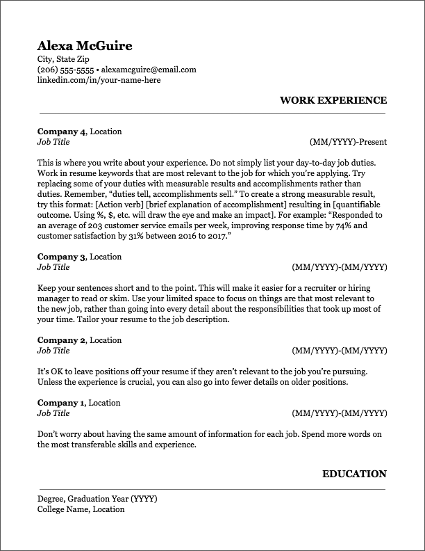 Resume Formats Find The Best Format Or