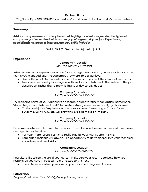 Resume Templates Jobscan