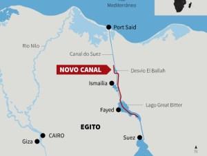 Mapa com indicações das reformas no Canal de Suez. (Fonte: The Guardian)