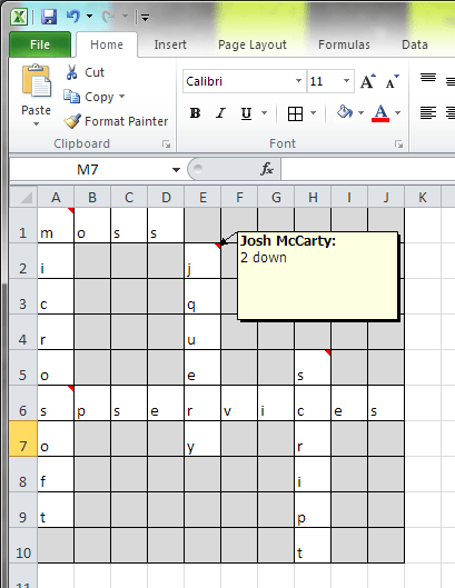 Excel is a great tool for mocking up your crossword before you start