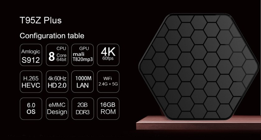 Sunvell T95Z Plus Set-top Box Amlogic S912 Octa Core 4K x 2K H.265 Decoding Android 6.0 2.4G   5G Dual Band WiFi
