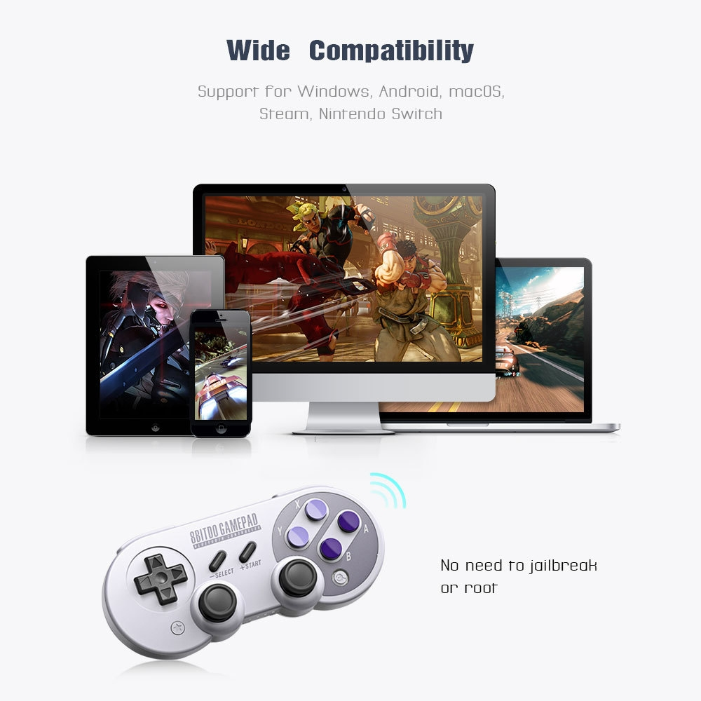 e28fe539ad2253c8d464d6e73dd63aa1 8Bitdo SN30 Pro Wireless Bluetooth Controller With Classic Joystick Gamepad For Android Nintendo Switch Windows MacOS Steam GRAY