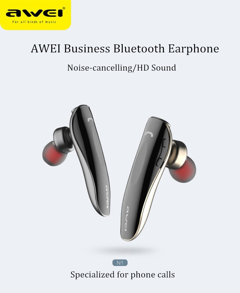 67367cfe0e359aeec3e0110d5e788d02 Awei AWEI N1 Multipoint Wireless Bluetooth Earphone Earbud Business Connection In ear Single Earphone CSR 4.1 For General Mobile Phone(RoseGold