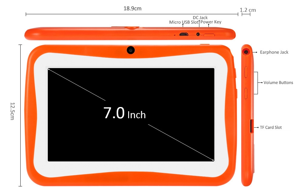 d09df7197c41790d545e08f2b2abea88 BDF Q768   7 Kids Tablet PC Android 4.4 512MB/8GB 0.3MP OTG G Sensor EU   Orange