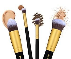 a3d5047563c4433ae5b56e7f0ff14093 Daurici Makeup Brushes Premium Makeup Brush Set Synthetic Cosmetics Foundation Blending Blush Eyeliner Face Powder Brush Makeup Brush Kit (10pcs, Golden Black)