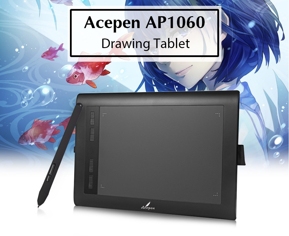 971b0729edd07546cfb6c5e27e9ccf99 Generic AP1060 Graphic Drawing Tablet 10x6 Inch With Pen   Black