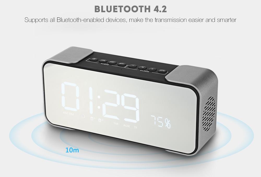 ecc2ca006b859ac53bfc4bb6ef36766f Generic PTH   305 Multi functional Clock Bluetooth Speaker Stereo Sound LED Display Big Mirror Screen USB Charge