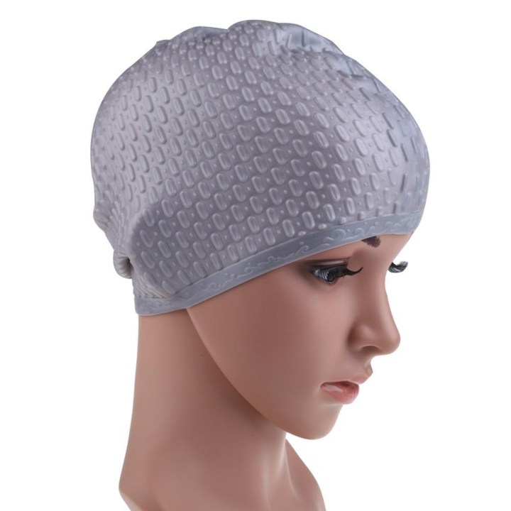 Generic Multicolor Flexible Adult Waterproof Silicon Swimming Cap Unisex Waterdrop Cover Protect Ear 7 Color Swimming Hat(Silver) price in Nigeria