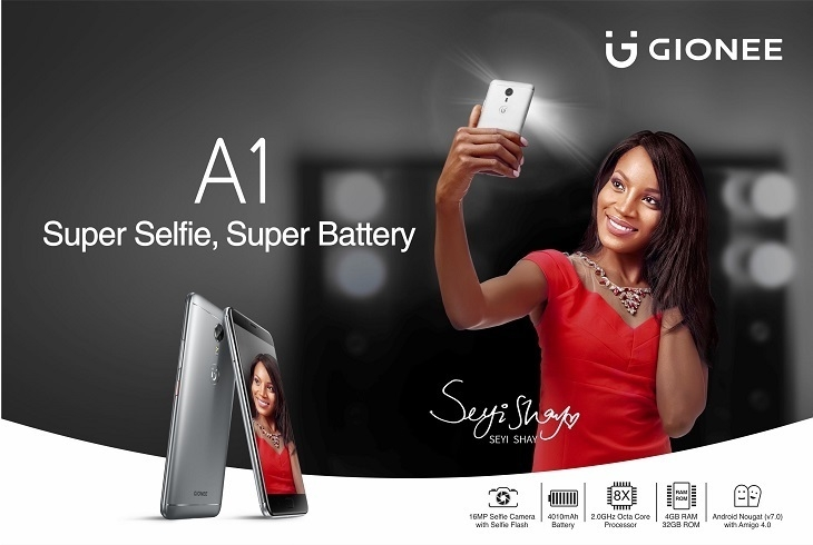 Gionee A1 5.5 Inch HD (4GB, 32GB ROM) Android 7.0 Nougat, 13MP + 16MP 4G Smartphone   Grey / Black price in nigeria