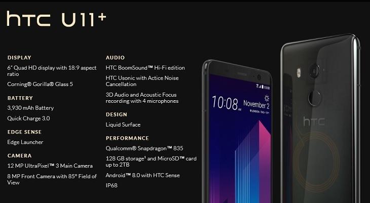 4430cb8cb12565db905387ae54c3e10a HTC U11 Plus (U11+) 6 Inch QHD (6GB,128GB ROM) Android 8.0 Oreo, 12MP + 8MP Dual SIM 4G Smartphone   Translucent Black