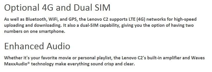Lenovo C2 K10A40 5.0 Inch HD (1GB, 8GB ROM) Android 6.0 Marshmallow, 8MP + 5MP Smartphone   White price on Jumia