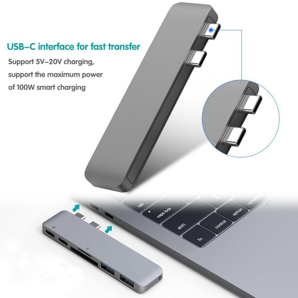f704e02caa15d2279581d9931ac3918d Louis Will USB C Hub,KOBWA 6 In 1 Aluminum Type C Hub Adapter With 50Gbs/s Thunderbolt 3 [email protected],USB C 3.1 Pass through Port,SD/TF Card Reader And 2 USB 3.0 Ports For New 13 Or 15 MacBook Pro 2016/2017(Silver)