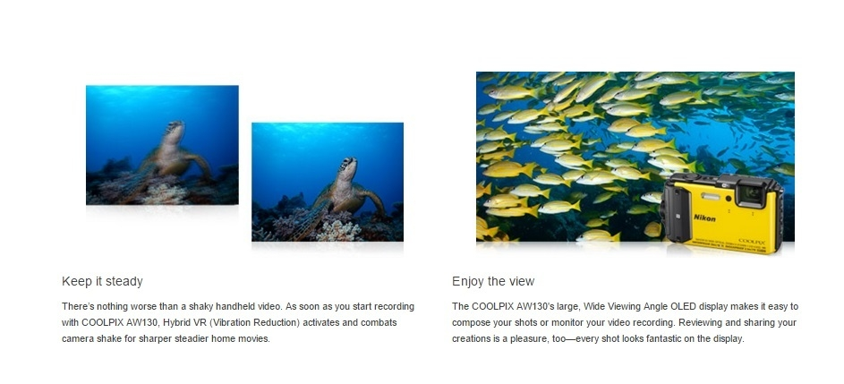 Nikon Coolpix AW130 Underwater Action Camera With Built-in W-iFi + FREE MINI TRIPOD
