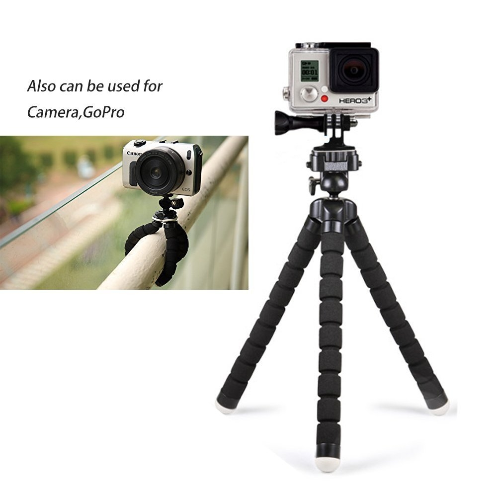 59c8a92301cfd730c782e86098bf224d Octopus Tripod Stand Holder & Remote For Smartphones & Camera   Black