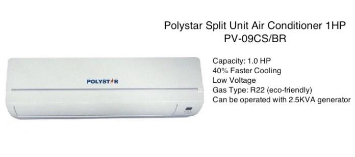 Polystar Split Unit Air Conditioner 1HP PV 09CS/BR   White price in nigeria