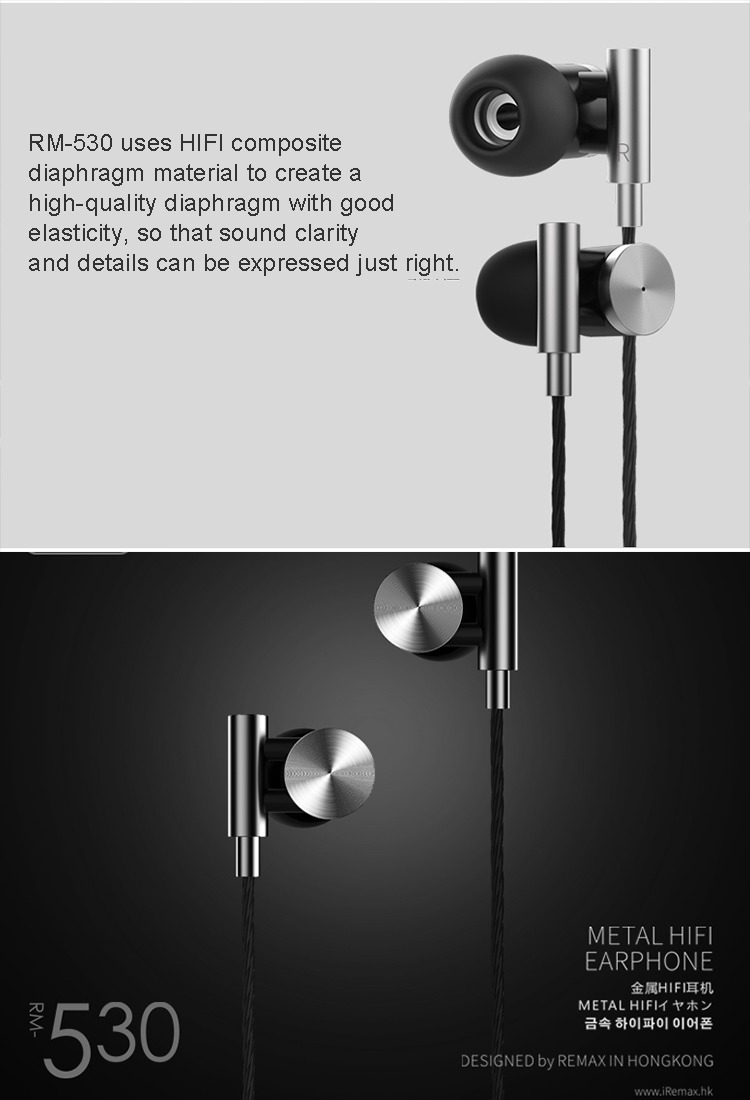 0a3adecc64b58a0f6b8c08b6110d147c Remax Remax   RM 530 Metal Stereo In Ear Earbud Headphones / Earphones With Built In Mic And Control Buttons For Android, IOS And More   Great Bass Sound Quality, Noise Isolating, Hand Free Calling