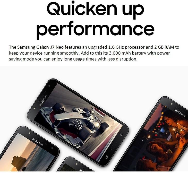 415a91f162a282dbbc97113501856c0d Samsung Galaxy J7 Neo (2GB,16GB ROM) 13MP + 5MP, Android 7.0 Nougat 4G Dual SIM Smartphone + Free E1205 Phone, Screen Guard & Back Case   Silver