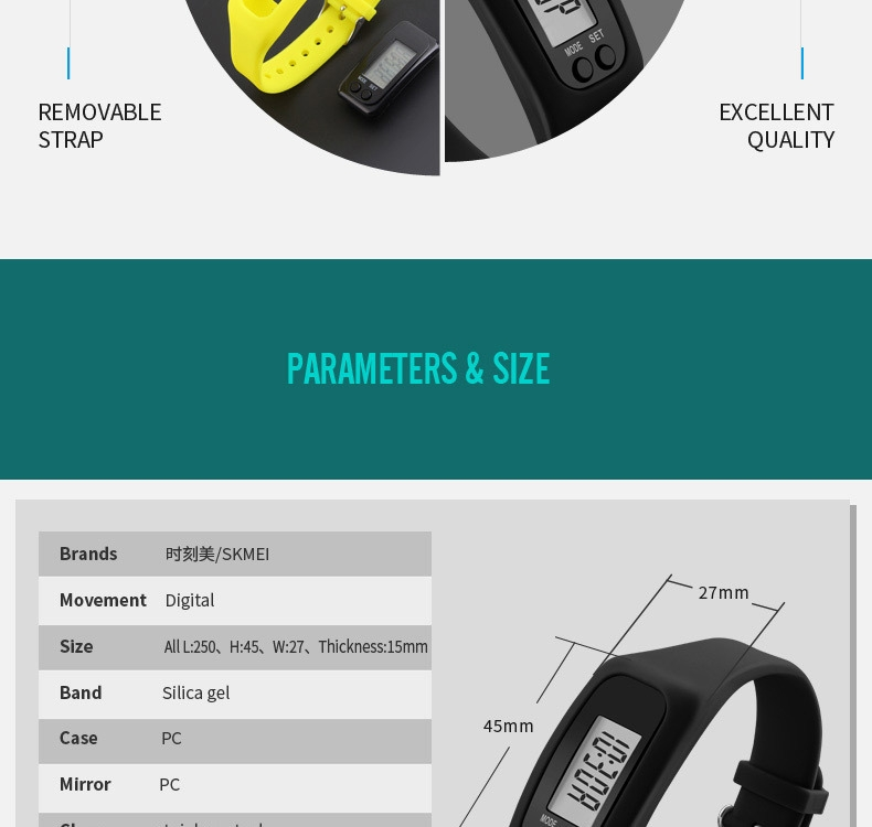 26622130bbfc1f9d9d2b997a4bc8a3a2 Skmei Women Fashion Sports Watches Pedometer Calorie Sport Mileage Digital Watch Girl Colorful Silicone Strap Wristwatches (Red