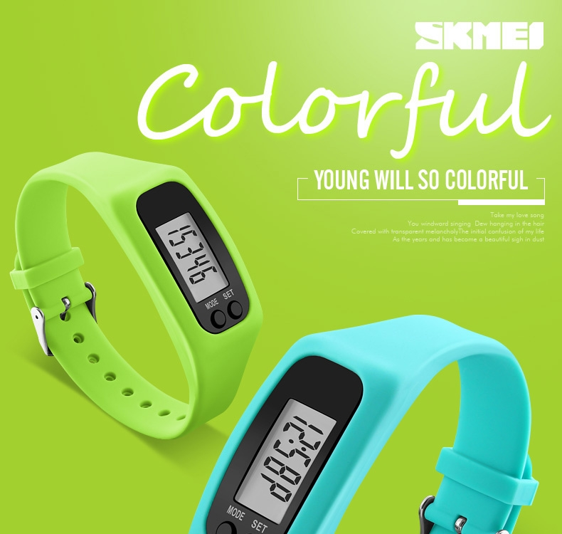 7f8411b4451df16af373f06b6df44f56 Skmei Women Fashion Sports Watches Pedometer Calorie Sport Mileage Digital Watch Girl Colorful Silicone Strap Wristwatches (Red