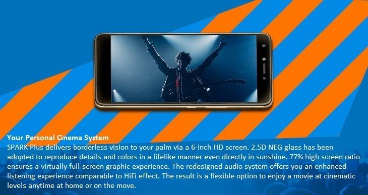 Tecno Spark Plus K9 6.0 Inch HD (2GB, 16GB ROM) Android 7.0 Nougat, 13MP + 5MP Dual SIM 4G Smartphone   Gold price in nigeria