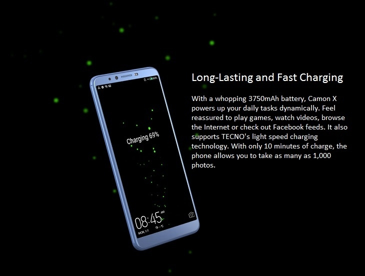 Tecno Camon X (CA7) 6-Inch HD (3GB, 32GB ROM) Android 8 1 Oreo, 16MP + 20MP  Dual SIM 4G Fingerprint Smartphone - Champagne Gold