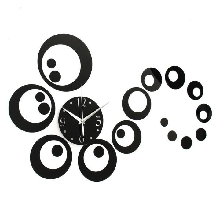 Universal Black Stylish Circles 3D Modern Mirror Wall Clock Sticker Decal Home DIY Decor price in Nigeria