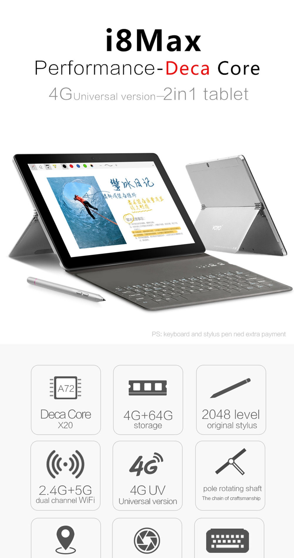 7818fea23c26be921d6de68156a55179 Voyo I8 Max   10.1 4G Tablet 4GB/64GB 13.0MP OTG 5300mAh Android 7.1 EU   Silver