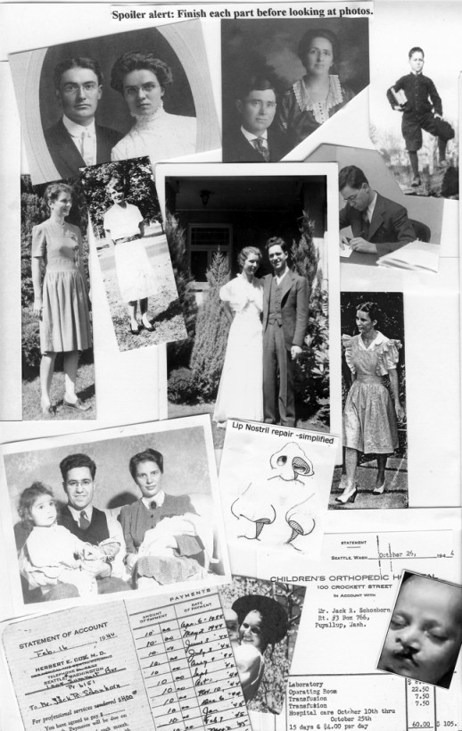 Photos of CH characters and memorabilia: Martin & Rosa Stenerson, Clifford & Charlotte Schonborn, Jack Schonborn and Laura Stenerson, Jack & Laura Schonborn, Gayle & Karl Schonborn (hidden) with parents,  nostril repair diagram, payment book for surgeon, hospital bill.