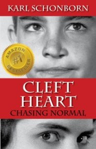 Cover images for Cleft Heart book: Author's corrected cleft lip + author's mother.