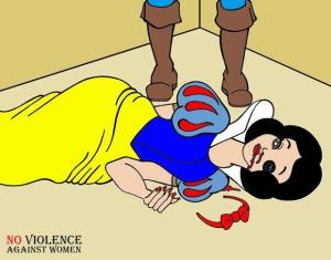 Cartoon version of Snow White, bleeding from mouth, to draw attention to domestic violence, by Italian artist Alexsandro Palombo