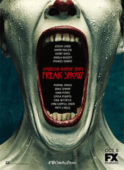 "Poster of white-faced ""Freak Show"" clown with mouth wide open."