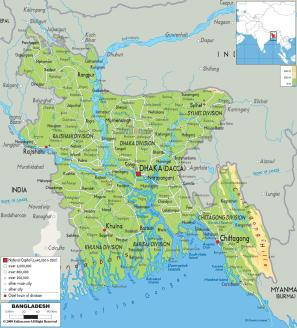 Relatively small country between India and Myanmar/Burma.