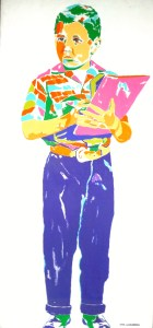 Karl Schonborn's painting of The Beav—holding a book— from Leave it to Beaver - checked shirt, purple pants.