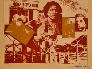 One of painting, silkscreen, collage collection. Minority youth amid freeway and motorcycle maze.