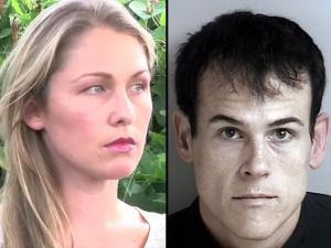 Head shots of cyberbullying victim Denise Huskins & kidnapper Matthew Muller: attractive blonde and dark-haired villain.