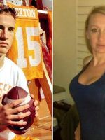 3/4 shots of Manning w football juxtaposed with & Naughright in black dress. Preferential treatment?