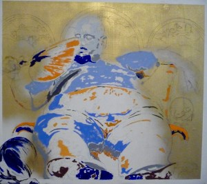 Obese man reclining and fanning himself - in gold, turquoise & light blue pigments.