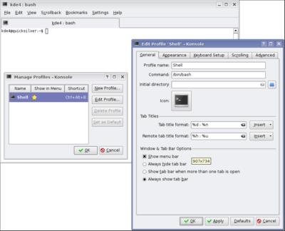 Konsole's settings, KDE version 4.0