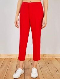 Pantalon droit style tailleur                                                                             rouge Femme