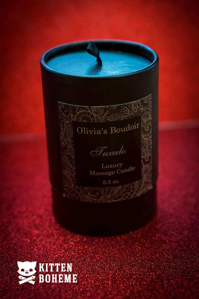 Olivia's Boudoir Tuxedo Luxury Massage Candle Packaging