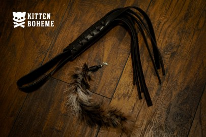 Playbox BDSM Theme Box Leather Flogger and Feather Tickler