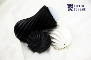 Tenga Flex Rocky Black and Silky White Masturbation Sleeves