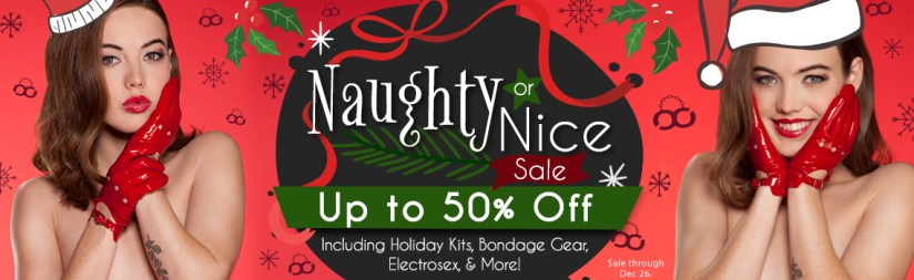 Stockroom Naughty or Nice Holiday Sex Toy Sale Banner
