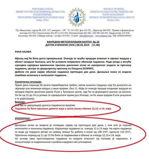 Upozorenje Republičkog hidrometeorološkog zavoda