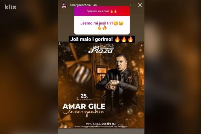 Koncert je najavio i pjevač putem društvene mreže Instagram (Foto: Screenshot)