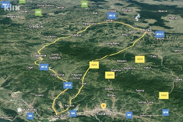 Projekcija trase autoceste kreirana na osnovu kartografskog prikaza iz studije izvodljivosti projekta (Foto: A. K./Klix.ba)