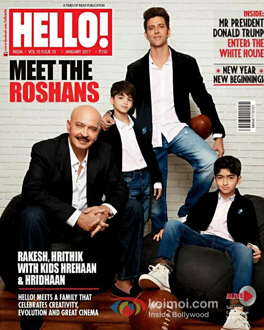 Hrithik Roshan along with sons Hrehaan & Hridhaan and father Rakesh Roshan on the cover of Hello India magazine