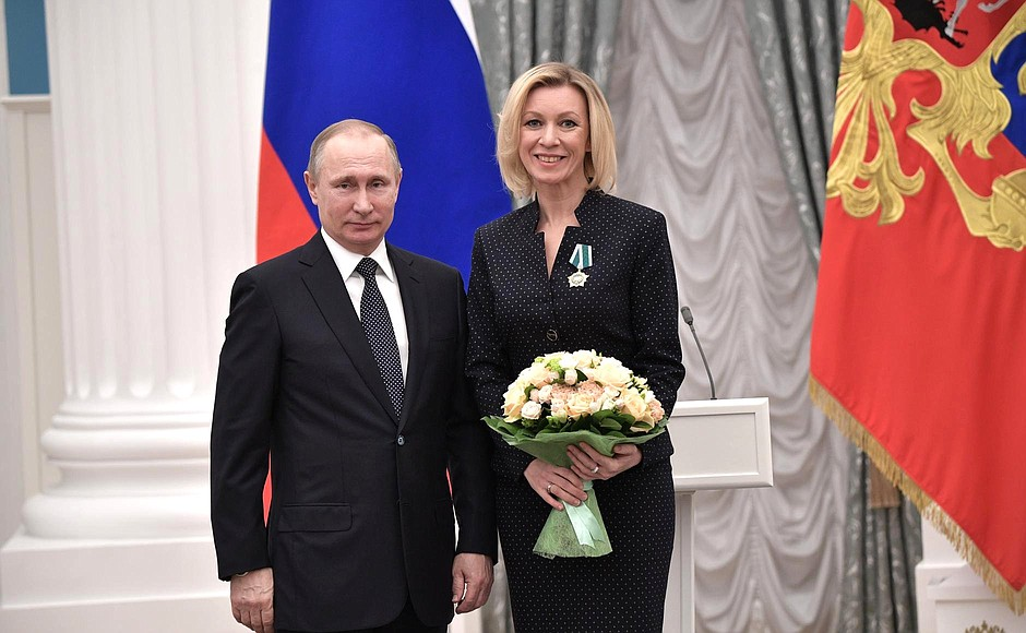 Presentation of state decorations. Maria Zakharova, director of the Russian Foreign Ministry Press and Information Department, is awarded the Order of Friendship.