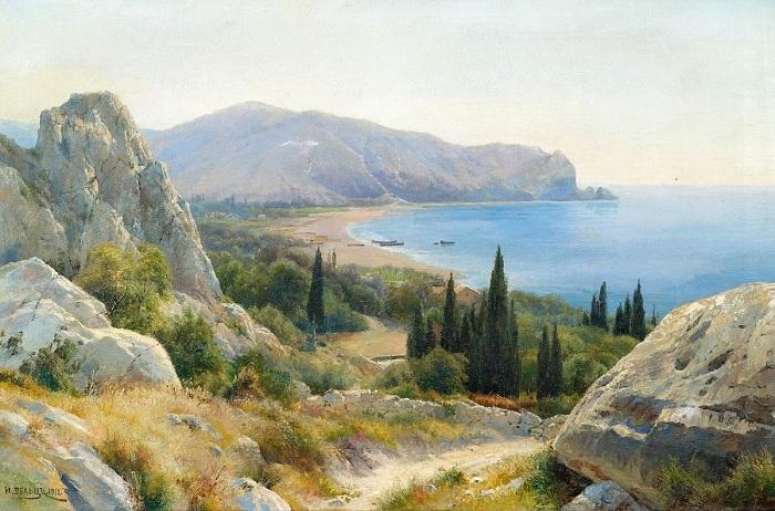 Летний пейзаж из прибрежными скалами.И.А. Вельц.