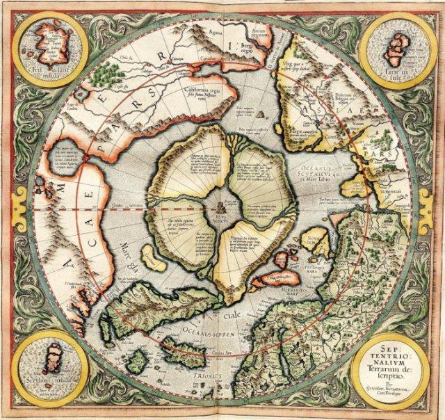 Карта Северного Ледовитого океана, созданная в XVI веке. В центре - материк, считающийся затонувшей Гипербореей